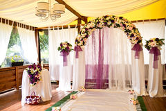 Floral decorations. For a wedding in the restaurant Stock Image