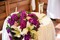 Floral decorations. For a wedding in the restaurant Royalty Free Stock Photo