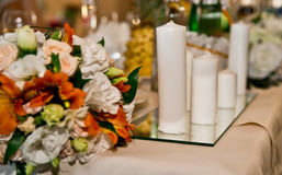 Floral decorations. For a wedding in the restaurant Stock Photos