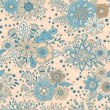 Floral decorative beige and blue background. Flower bouquets vector seamless pattern. Floral decorative beige and blue background. Flowers, plants and herbs Royalty Free Stock Photography
