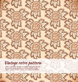 Floral decorative beige seamless texture. Background with ornate flowers Royalty Free Stock Images