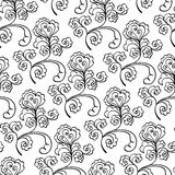 Floral decorative black and white  pattern Stock Images