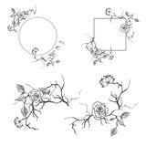 Floral Decorative Border and Frame Set Royalty Free Stock Image