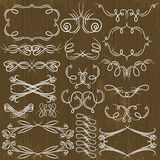 Floral decorative borders, ornamental rules, divid. Ers, vector Royalty Free Stock Images
