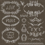 Floral decorative borders, ornamental rules, divid Stock Photos