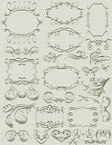 Floral decorative borders, ornamental rules, divid Stock Image