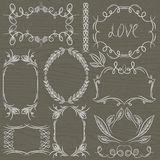 Floral decorative borders, ornamental rules, divid stock illustration