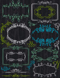 Floral decorative borders, ornamental rules, divid Royalty Free Stock Photo