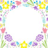 Floral Decorative Design of Card with Spring Flowers. Decorative circle frame filled by dense background with early spring flowers such as tulips, hyacinths Stock Photography