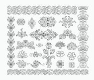 Floral decorative design elements and line brushes Royalty Free Stock Image