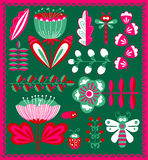Floral decorative design elements set with bugs and dragonfly Stock Photos
