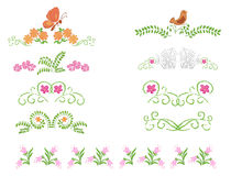 Floral decorative dividers - set Royalty Free Stock Photos