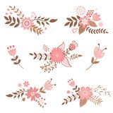 Floral decorative elements Stock Photo