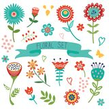 Floral decorative elements set Royalty Free Stock Images
