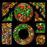 Floral decorative elements of traditional russian culture. Vector design pictures in khokhloma style Royalty Free Stock Photography