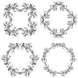 Floral decorative filigree frames. Black ornaments. Vector illustration isolated on white background Royalty Free Stock Photos