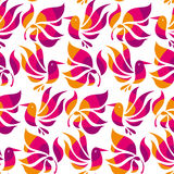 Floral decorative flat bird and tropical plant, Royalty Free Stock Photography