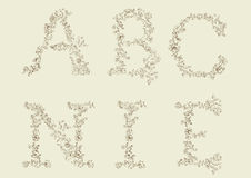 Floral, decorative font. Royalty Free Stock Photo