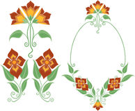 Floral Decorative Frame. Decorative frame with orange flowers and green leaves Royalty Free Stock Images