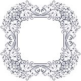 Floral decorative frame. Black vintage ornament. Vector illustration isolated on white background Royalty Free Stock Photos
