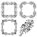 Floral decorative frames and ornament. Vector illustration isolated on white background Stock Images