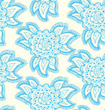 Floral decorative lace blue seamless texture. Back Royalty Free Stock Photo
