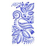 Floral decorative ornament bird asleep Royalty Free Stock Image