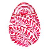 Floral decorative ornament easter egg. Hand drawn illustration in Ukrainian folk style Royalty Free Stock Photo