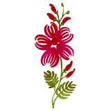 Floral decorative ornament. Hand drawn illustration in Ukrainian folk style Stock Image