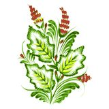 Floral decorative ornament. Hand drawn illustration in Ukrainian folk style Stock Photography
