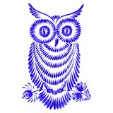 Floral decorative ornament owl. Hand drawn illustration in Ukrainian folk style Stock Images