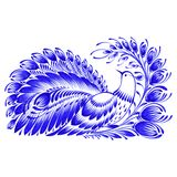 Floral decorative ornament peacock. Hand drawn illustration in Ukrainian folk style Royalty Free Stock Photos
