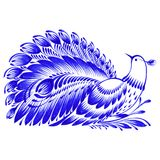Floral decorative ornament peacock. Hand drawn illustration in Ukrainian folk style Royalty Free Stock Images