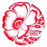 Floral decorative ornament red hibiscus Stock Photography