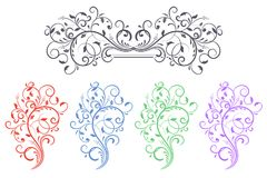 Floral decorative ornaments. Set of colored flower branches. Vector illustration isolated on white background Royalty Free Stock Photography