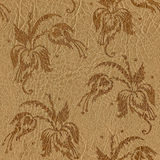 Floral decorative pattern - leather texture - seamless backgroun Royalty Free Stock Photography