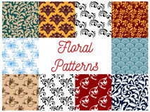 Floral decorative patterns set Stock Photo