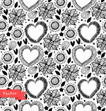 Floral decorative seamless pattern. Black and white vector background with hearts and flowers. Fabric vintage texture. Stock Images