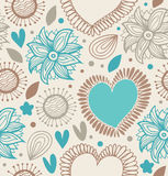 Floral decorative seamless pattern. Doodle background with hearts and flowers. Fabric vintage texture vector illustration