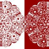 Floral decorativo vermelho e branco ilustração stock