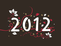 Floral design 2012 text,  for new year Royalty Free Stock Photos
