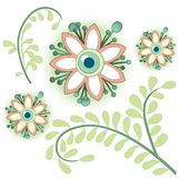 Floral design. Botanical design with flowers and leaves royalty free illustration