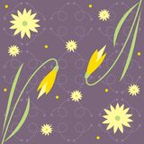 Floral design. Decorative floral design against a patterned background Stock Illustration
