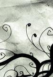 Floral design. Artistic hand drawed floral illustration on aged paper Royalty Free Stock Images