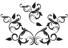 Floral design. With swirls in black vector illustration