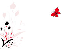 Floral design. Vector illustration of floral design with the red butterfly Royalty Free Stock Images