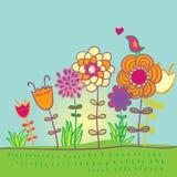 Floral design. Summer floral design - cartoon Royalty Free Stock Photos