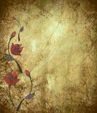 Floral Design on Antique Grunge Background Stock Images
