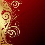 Floral Design Background. Golden design with floral pattern on red base Stock Photos
