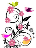 Floral design with birds Stock Image
